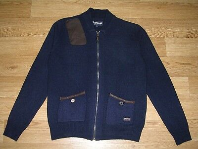BARBOUR Boys Navy Blue Wool Cardigan Brown Leather Patches Age 11-12 Immaculate