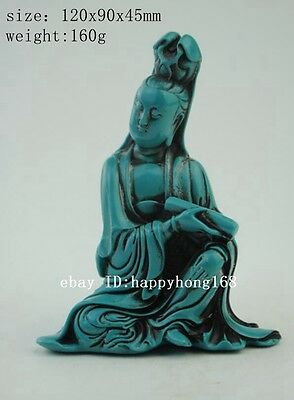 Collect China delicate Hand-carved Turquoise Guanyin Statue b02
