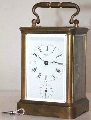 Antique 19Th C. Gilt Brass Carriage Clock Retailed By Captain Henry Of Geneve.