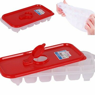 LARGE Ice Cube Tray + Lid NO SPILL NO MESS Deep Freezer Mould Mold EASY POUR