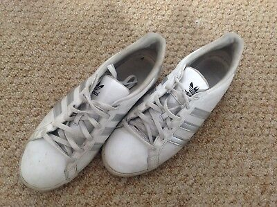 Womens Adidas Slim Fit Court Style Trainers Shoes White Grey Size 9