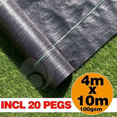 4m x 10m Ground Cover Fabric Landscape Garden Weed Control Membrane With 20 Pegs