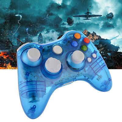 Blue Transparent Wireless Game Controller For Xbox 360 With LED Lights AC1517