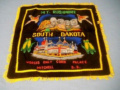 Vtg SOUTH DAKOTA Mt Rushmore Black Velvet Souvenir Pillow Cover Fringed Edge NOS