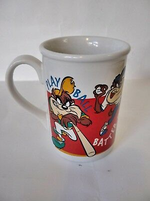GIBSON Looney Tunes Tan Tazmanian Devil Baseball Sport Mug Cup Yer Out