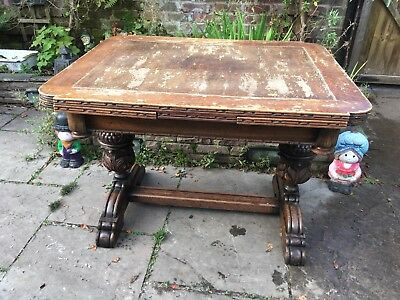 Antique Oak Pineapple Draw Leaf Extending Dining Table & 4 Matching Chair