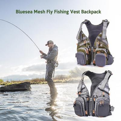 Blusea Mesh Fly Fishing Vest Backpack Breathable Outdoor Fishing Safety B1K8