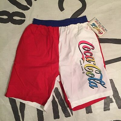 54e218eab95a0 VINTAGE 1980 s COCA-COLA Coke SHORTS DEADSTOCK with TAGS rugby shirt sz S  beach