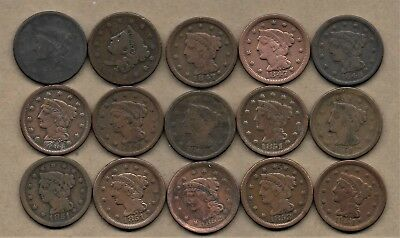1837-1854 Large Cent Coin Lot Of 15 Coins Low Grade