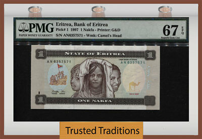 Tt Pk 1 1997 Eritrea - Bank Of Eritrea 1 Nakfa Pmg 67 Epq Superb Gem Unc!