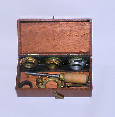 R & J Beck Objective Changer in case. 'Sloan' patent for brass microscope.