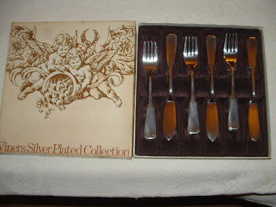 A Superb Quality Vintage Boxed Set Viners Silver Plated Fish Eaters ~ 'albany '