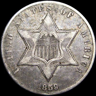 1859 Silver Three Cent Piece 3cp Type coin ----  NICE ----  #I891