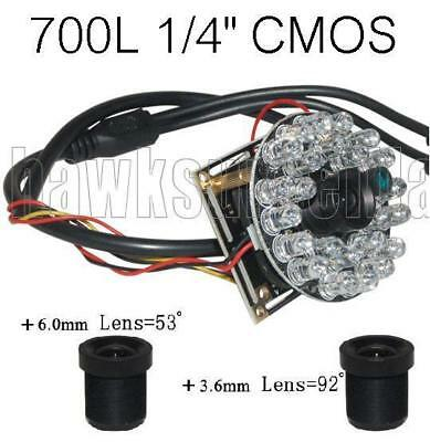 "Base Mount A604C 600TVL CCTV Color Camera Board 1//4/"" Inch CMOS with Infared"