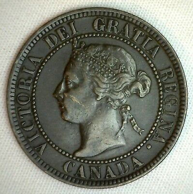 1896 Copper Canadian Large Cent One Cent Coin Very Fine  #6