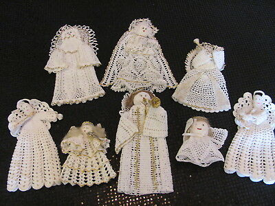 Excellent Lot Hand Crochet Angels Ornaments Decor - Some w Trumpets - Variety