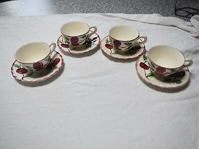 Set Of 4 Blue Ridge Crab Apple Cups And Saucers