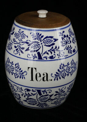 Antique Late 1800s German Porcelain Blue Onion Tea Jar Cobalt Flow Blue White