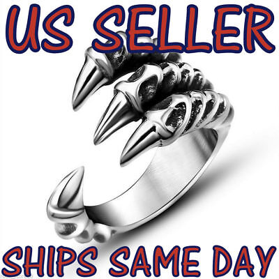 NEW Heavy Stainless Steel Gothic Punk Unisex Rings Fashion Claws Cross Jewelry