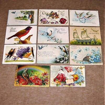 Lot of 11 antique postcards ~ BEST WISHES ~ Beautiful Birds / Bluebirds ~ posted