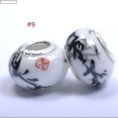 5pcs DIY Ceramic / Procelain European Charm Loose Craft Beads black Flowers #9