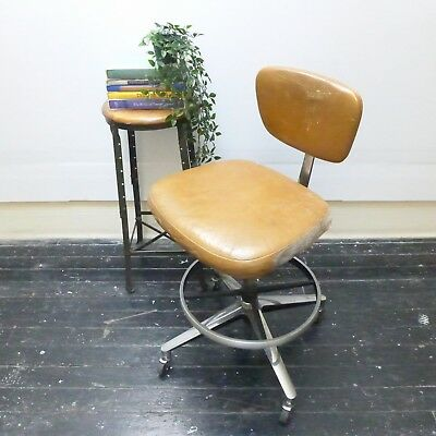 VTG Mid Century KNOLL Designer Chrome Leather BERTOIA Drafting Table Stool Chair