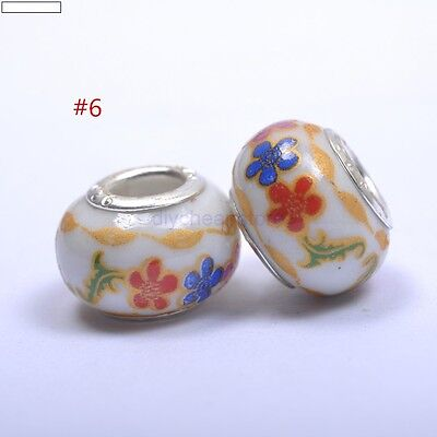 5pcs DIY Ceramic / Procelain European Charm Loose Craft Beads mix Flowers #6