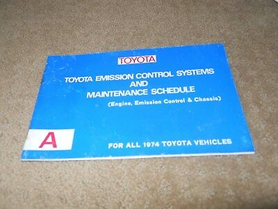 Toyota Emission Control Systems Maintenance Schedule 1974