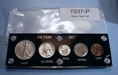 1937 SILVER SET of U.S. COINS NEAR MINT STATE ABOUT UNCIRCULATED to UNCIRCULATED