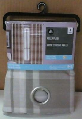 "NEW Hometrends Reilly Plaid 50""W x 84""L Window Curtain Panel Grommets"