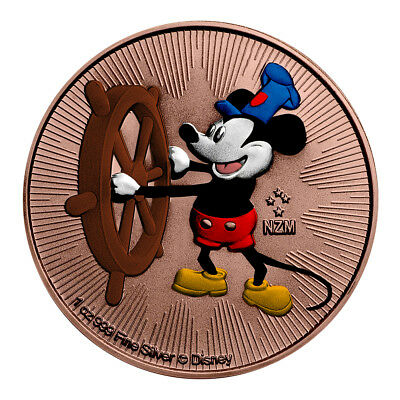 2017 1 Oz Colorized Rose Gold Gilded Silver Disney Mickey Mouse Steamboat Willie