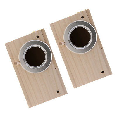 2xWooden Budgie Nest Nesting Box Perch For Cage Aviary With Opening Top, S+M