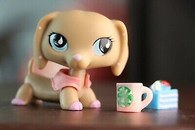 Littlest Pet shop Dachshund Dog #909 +Accessories For LPS Toy Collection Figure