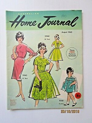 Australian Home Journal August 1962 - INCLUDES PATTERNS - FREE POSTAGE