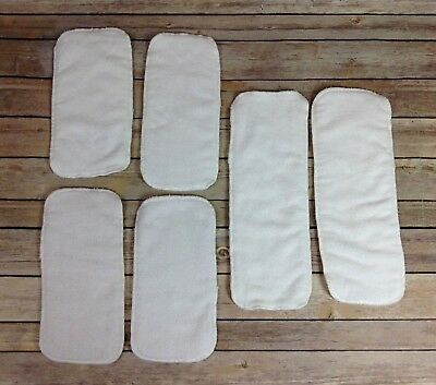 NEW Lot 6 Cloth Diaper Inserts White Terry Cloth Microfiber Pads Baby 2 Sizes