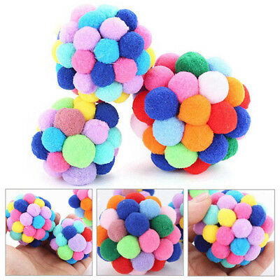Pet Cat Toy Handmade Colorful Bells Bouncy Ball Built-In Catnip Interactive Toy