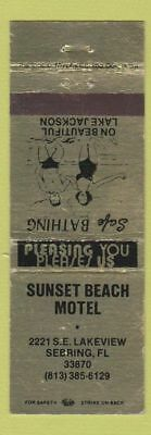 Matchbook Cover Sunset Beach Motel Sebring Fl Ie