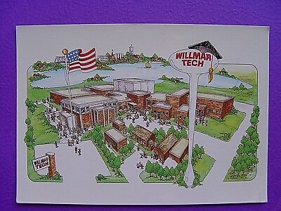 Vintage Postcard Willmar Tech School Minnesota Mn