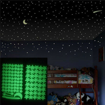 103Pcs/Lot Glow in The Dark Real Moon Stars Stickers Decals Ceiling Wall Bedroom