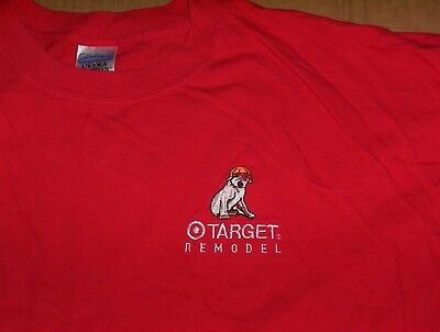 TARGET Store Remodel Employee Embroidered Dog Logo Red T-Shirt Adult Sz 2XL  XXL