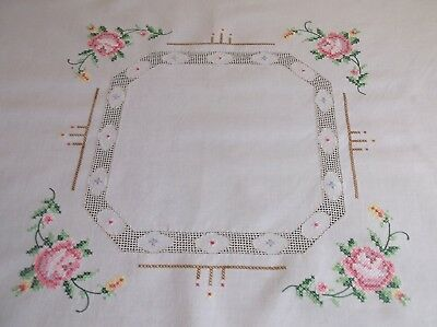 VINTAGE HAND EMBROIDERED AND DRAWN THREAD COTTON TABLE CLOTH 84 x 82cms