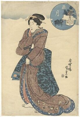 Kunisada Utagawa, New Year, Beauty, Ukiyo-e, Original Japanese Woodblock Print
