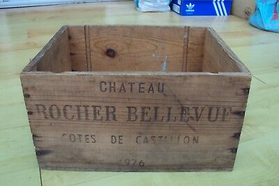 Genuine Vintage 1976 Wine Chateau Rosher Bellevue Advertising Wooden Box