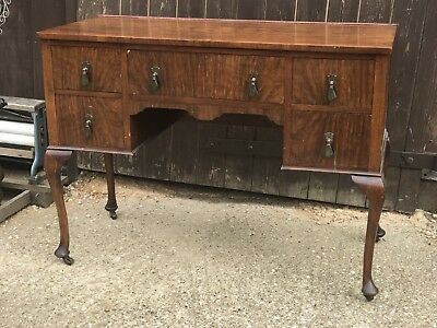 Antique Mahogany Veneer Dressing table Desk Queen Anne Legs