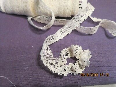 "Antique French Cotton Val Lace Floral Pattern Fringe Tinyedge Doll 83"" 3/8  L90"