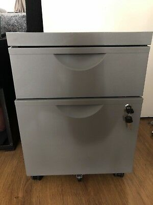 Argos metal 2 drawer filing cabinet silver