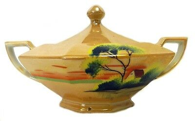 Peach Lustreware Covered Sugar Bowl Hand Painted House Tree Lake Japan Vintage