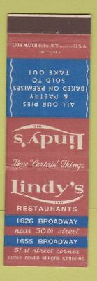 Matchbook Cover - Lindy's Restaurants New York City