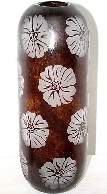 "Vintage Mid-Century Modern 16"" Tall Acid Etched Cameo Art Glass Vase.  Excellent"