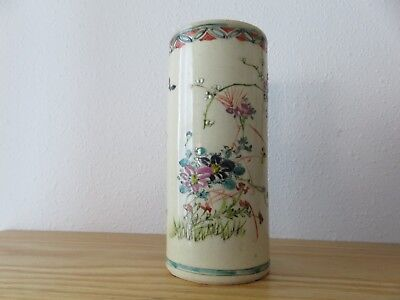 Antique Satsuma Cylinder Vase or Brush Holder Butterflies and Chrysanthemums